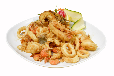 mixed fried fish, shrimp, squid and octopus fried