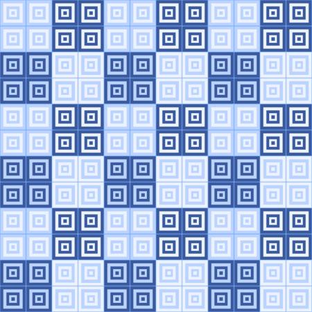 dar and light blue and white squares  inside squares tiled pattern background Reklamní fotografie