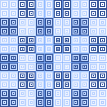 dar and light blue and white squares  inside squares tiled pattern background Banco de Imagens