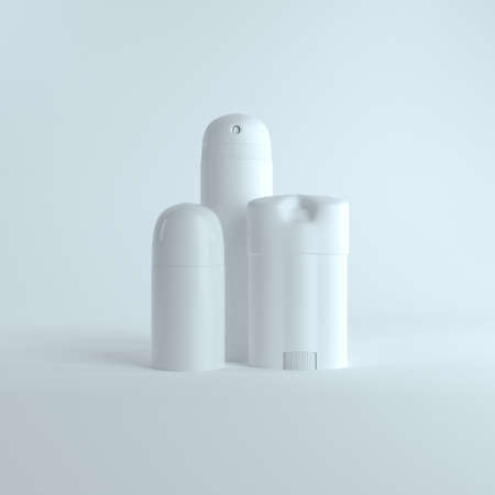 Set of 3 type 3D isolated white blank body antiperspirants deodorant, closed mock up template on isolated white background. 3D Mock up for your design. 3D Rendering.