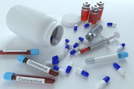 Medicine pills tablets, supplements, vitamins. pandemic pathogen coronavirus covid-19 outbrake worldwide, increased costs for coronavirus covid disease medicaments, antibiotics. 3D rendering 版權商用圖片 - 150589770
