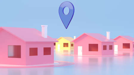 3D Map of City with navigator pin locator. Navigation, location route, travel and tourism planning concept. GPS pointer. Abstract concept navigation element. 3D illustration. Reklamní fotografie