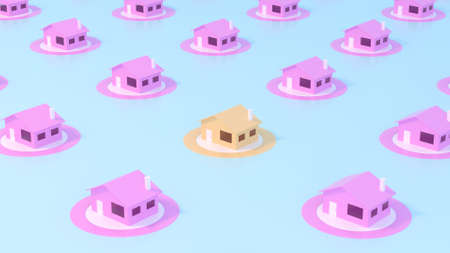 Trendy sunlight Summer pattern made with pink paper house on bright light blue background. Minimal summer concept. Abstract concept navigation element. 3D illustration