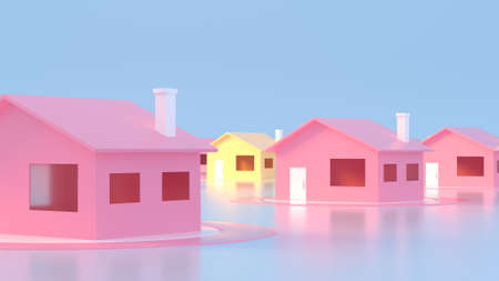 Trendy sunlight Summer pattern made with pink house on bright light blue background. Minimal summer concept. Abstract concept navigation element. 3D illustration