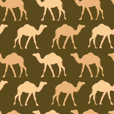 Camels caravan. Very calm and inspirational exotic seamless pattern of camels with brown background