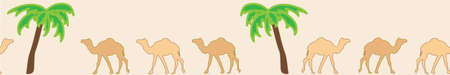 Camels caravan. Very calm and inspirational exotic seamless pattern border of camels with palm tress Ilustração