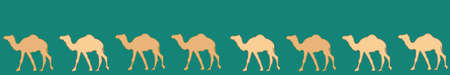 Camels caravan. Very calm and inspirational exotic seamless pattern border of camels with teal background Ilustração