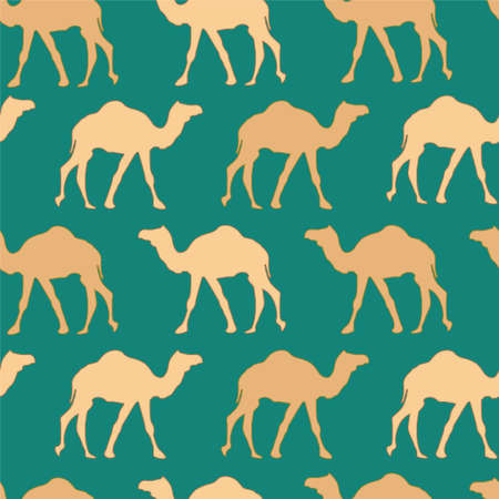 Camels caravan. Very calm and inspirational exotic seamless pattern of camels with teal background