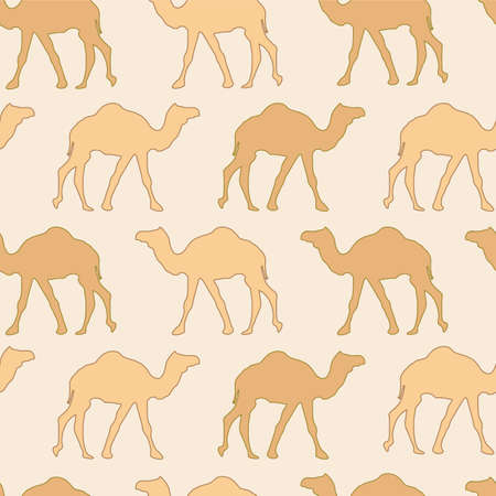 Camels caravan. Very calm and inspirational exotic seamless pattern of camels with sandy background 向量圖像