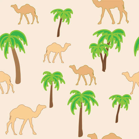 Oasis. Very calm and inspirational exotic seamless pattern of camels with palm trees