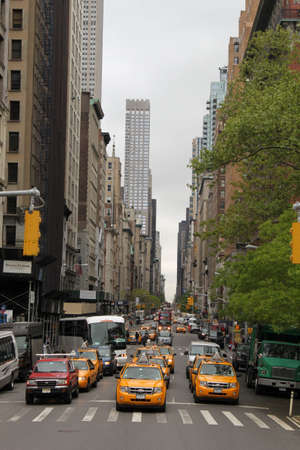New York taxis on a manhattan street