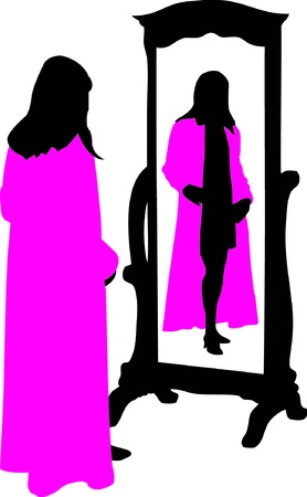 woman in mirror: Dressing Room Illustration