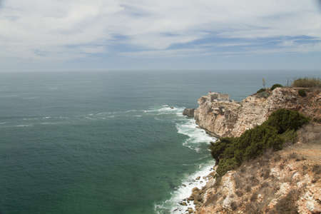 Ocean view from Cliff, Nazare Lighthouse in Portugal Stock Photo - 15051780