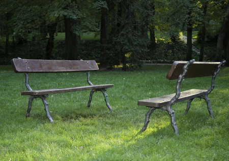 Two Empty Benches In The Garden. Royalty Free Stock Photo