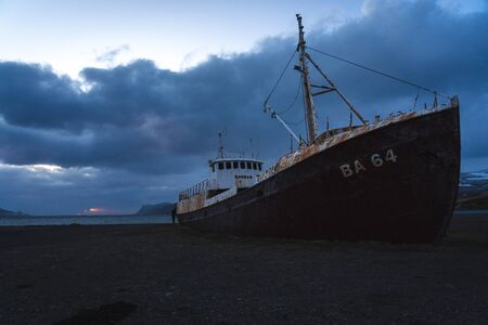 Ship wreckage in North Iceland