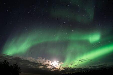Aurora Borealis Northern lights over Icelandic sky September 2018 免版税图像