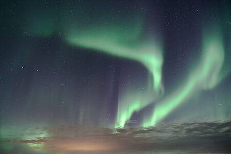 Aurora Borealis Zorza polarna nad islandzkim niebem wrzesień 2018
