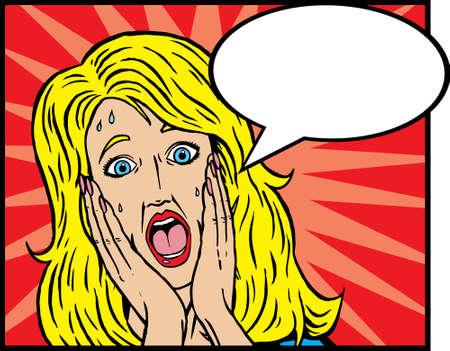 usunięta: Kobieta Scared. RÄ™ce może zostać usuniÄ™ta bez wpÅ'ywu na twarzy, ponieważ twarzy zostaÅ'a caÅ'kowicie ciÄ…gnione.  Dymek można bezpiecznie usunąć zbyt.