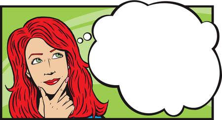 donna pensiero: Donna pensiero o daydreaming Vettoriali