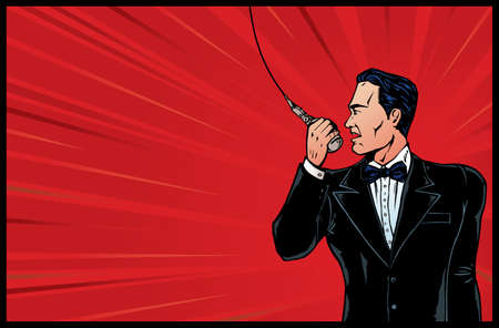 announcer: Announcer from olden days in colour. Illustration