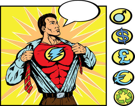 comic strip: Superhero getting ready for action
