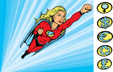 comic strip: Superheroine flying into action