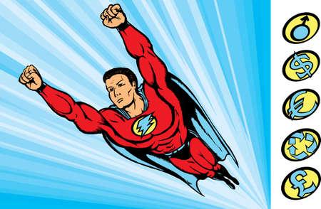 super kerel vliegen in actie met verwisselbare logo's. Stock Illustratie