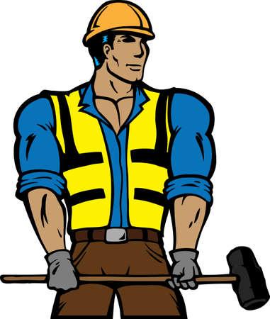 Gestileerde bouwvakker met Sledgehammer. Kan gebruikt worden als een icoon of logo.