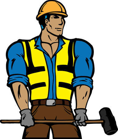 steely: Stylized construction worker with sledgehammer. Can be used as an icon or logo.