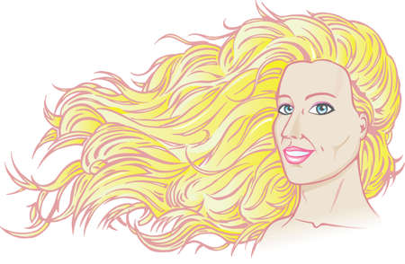 blonde blue eyes: Drawing of a beautiful girl with her hair flowing in the wind.