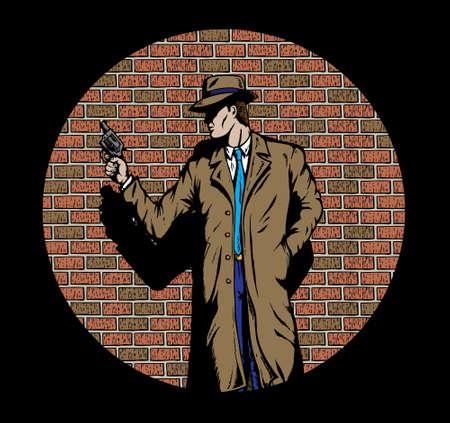 gangster with gun: Detective estilo antiguo, como la de los a�os cincuenta.