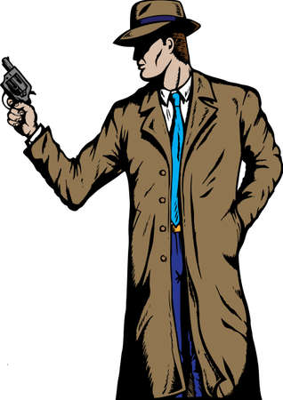 firearms: Old style Detective, such as from the fifties. Illustration