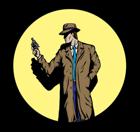 cartoon gangster: Old style Detective, such as from the fifties. Illustration