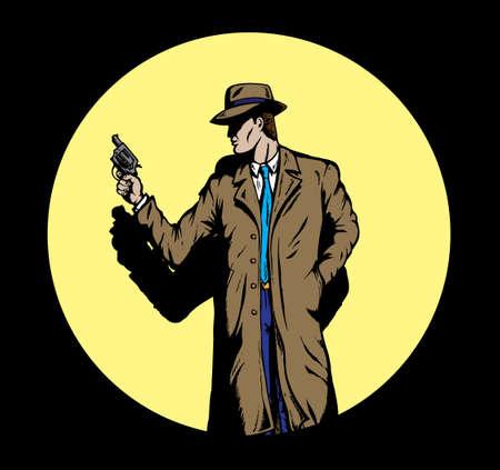 Oude stijl detective, zoals van de jaren vijftig.  Stock Illustratie