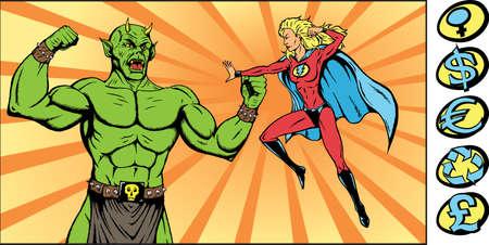 Superheroine strijd een monsterlijke slechte kerel. Onderdeel van een serie. Stock Illustratie