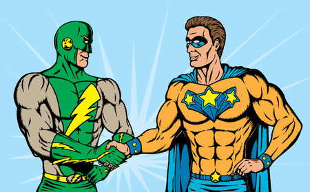 Superheroes shaking hands, great to show teamwork or partnerships