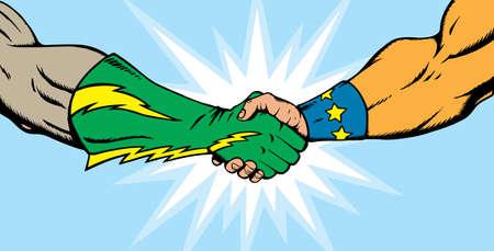 Superheld handshake  Stock Illustratie