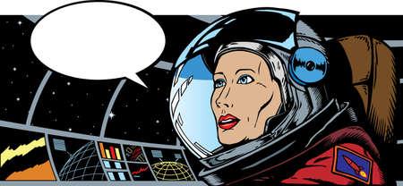 Female Astronaut in space Vector
