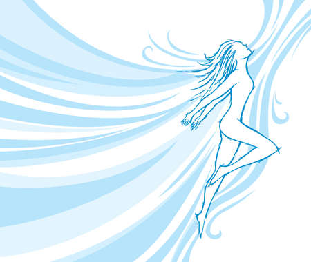 Flowing dancer, embodies dancing and freedom. Vector