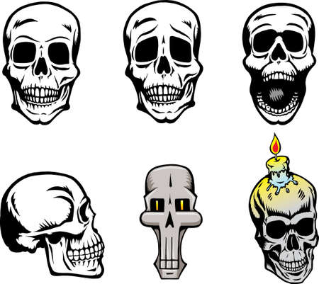 fear: Different skull drawings Illustration