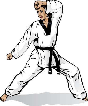 Martial arts girl Stock Vector - 4413631