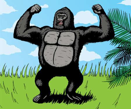 정글에서 화가 난 자이언트 고릴라. 벡터와 함께, 고릴라 배경에서 별도이며 쉽게 제거 할 수 있습니다.