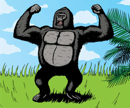 Giant Gorilla angry in the jungle.  With vector, gorilla is separate from the background, and can be easily removed. Ilustrace