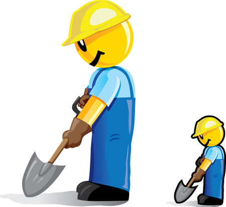 digging: Stylized construction worker Illustration