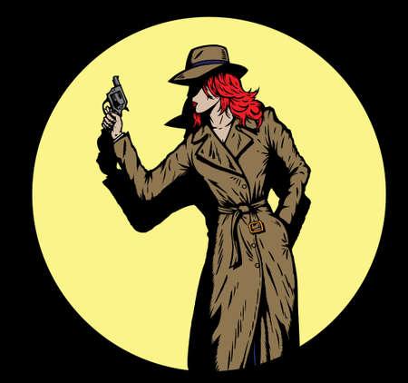 gangster with gun: Estilo antiguo detective ni�a, como la de los a�os cincuenta.