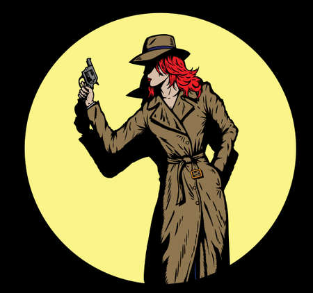 Oude stijl meisje detective, zoals van de jaren vijftig.  Stockfoto - 4486567
