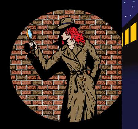 Oude stijl meisje detective, zoals van de jaren vijftig.  Stock Illustratie