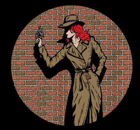 woman with gun: Old style girl detective, such as from the fifties.