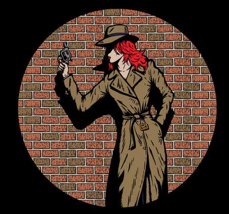 Oude stijl meisje detective, zoals uit de vijftiger jaren.