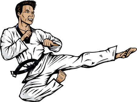 Jumping side kick. With .vector version, shadows can easily be removed. Vector